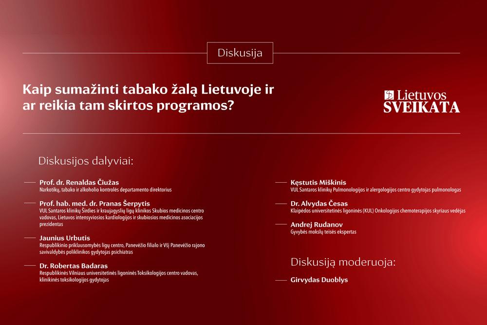 Tabako žalos mažinimui – išskirtinis šalies sveikatos specialistų dėmesys (tiesioginė transliacija)