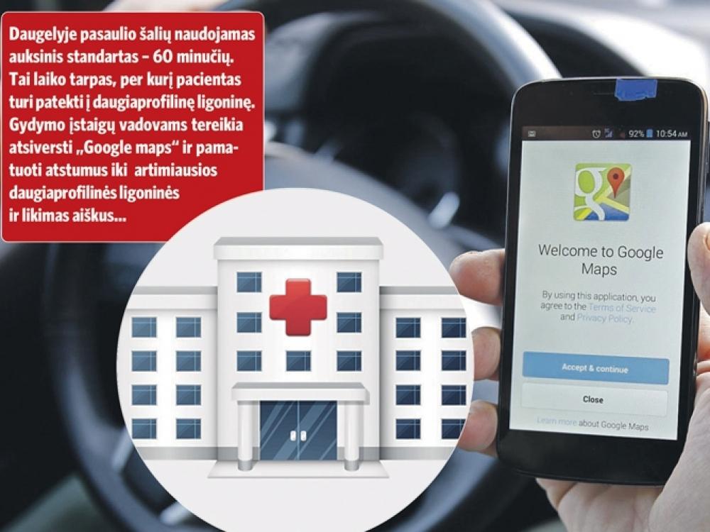 """Ligoninių tinklą nustatys """"Google maps""""?"""