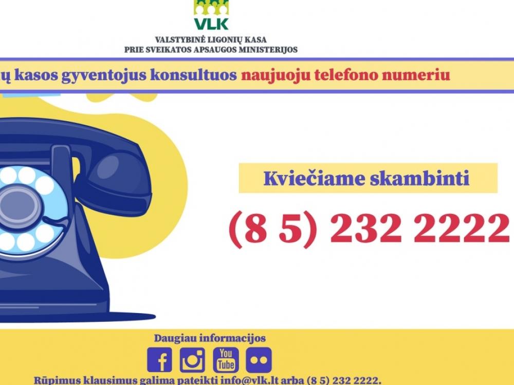 Ligonių kasos gyventojus konsultuos naujuoju telefono numeriu